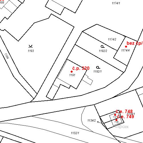 Katastrální mapa Stavební objekt Jirkov 320, Jirkov