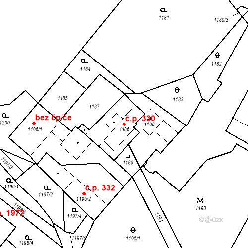 Katastrální mapa Stavební objekt Jirkov 330, Jirkov