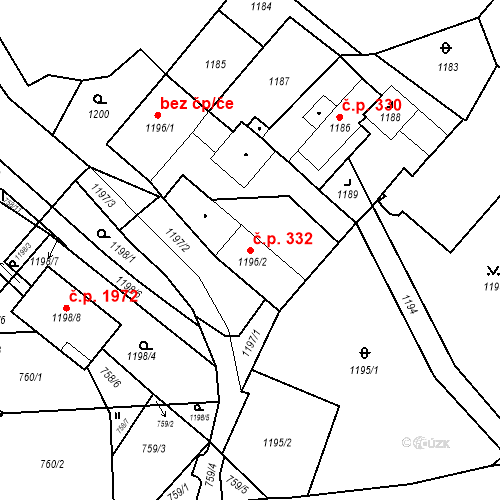 Katastrální mapa Stavební objekt Jirkov 332, Jirkov