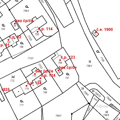 Katastrální mapa Stavební objekt Jirkov 123, Jirkov