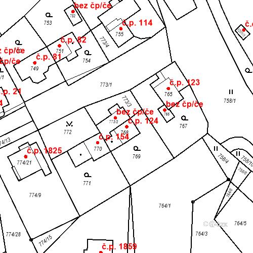 Katastrální mapa Stavební objekt Jirkov 124, Jirkov