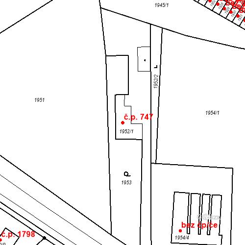 Katastrální mapa Stavební objekt Jirkov 747, Jirkov