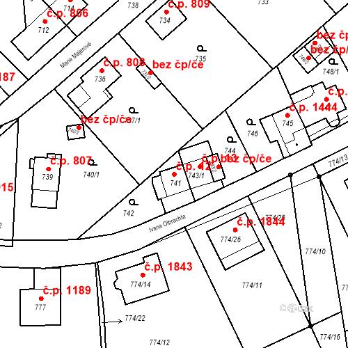 Katastrální mapa Stavební objekt Jirkov 12, Jirkov