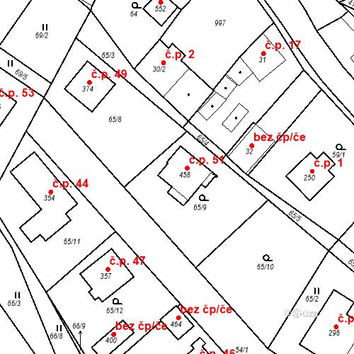 Katastrální mapa Stavební objekt Kocanda 51, Kamenný Újezd