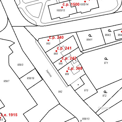 Katastrální mapa Stavební objekt Jirkov 242, Jirkov