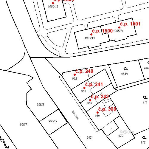 Katastrální mapa Stavební objekt Jirkov 240, Jirkov