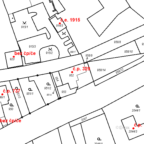 Katastrální mapa Stavební objekt Jirkov 329, Jirkov