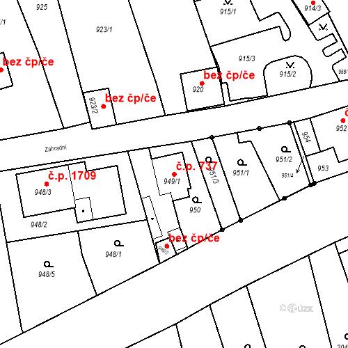 Katastrální mapa Stavební objekt Jirkov 737, Jirkov