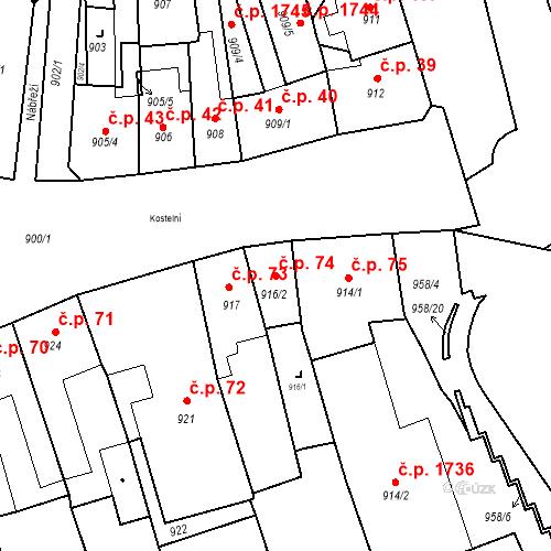 Katastrální mapa Stavební objekt Jirkov 74, Jirkov
