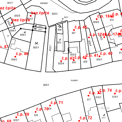 Katastrální mapa Stavební objekt Jirkov 43, Jirkov