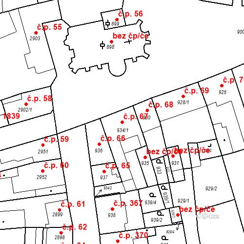 Katastrální mapa Stavební objekt Jirkov 67, Jirkov