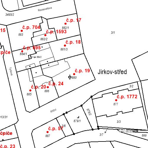 Katastrální mapa Stavební objekt Jirkov 19, Jirkov