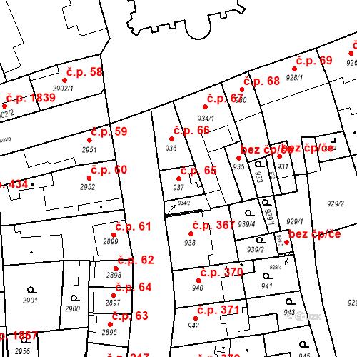 Katastrální mapa Stavební objekt Jirkov 65, Jirkov