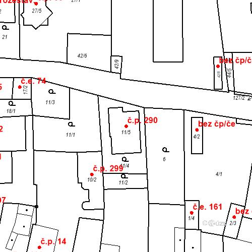 Katastrální mapa Stavební objekt Otvice 290, Otvice