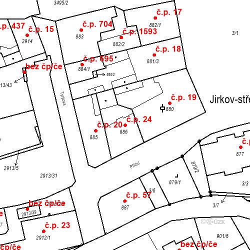 Katastrální mapa Stavební objekt Jirkov 24, Jirkov