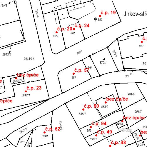 Katastrální mapa Stavební objekt Jirkov 57, Jirkov