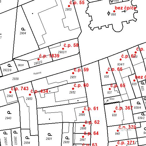 Katastrální mapa Stavební objekt Jirkov 59, Jirkov