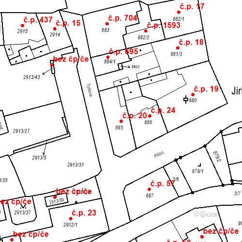 Katastrální mapa Stavební objekt Jirkov 20, Jirkov