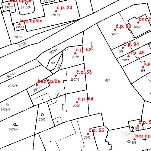 Katastrální mapa Stavební objekt Jirkov 53, Jirkov