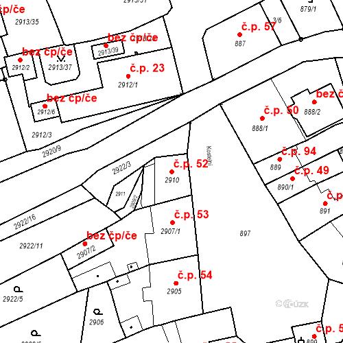 Katastrální mapa Stavební objekt Jirkov 52, Jirkov