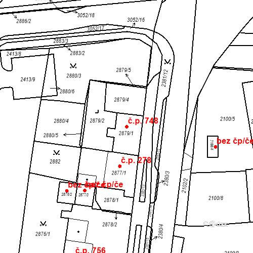 Katastrální mapa Stavební objekt Jirkov 748, Jirkov