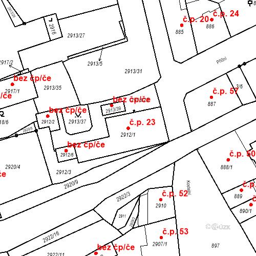 Katastrální mapa Stavební objekt Jirkov 23, Jirkov