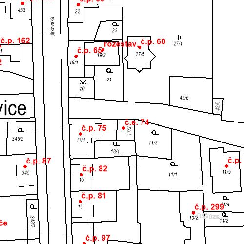 Katastrální mapa Stavební objekt Otvice 74, Otvice