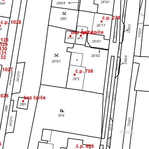 Katastrální mapa Stavební objekt Jirkov 756, Jirkov