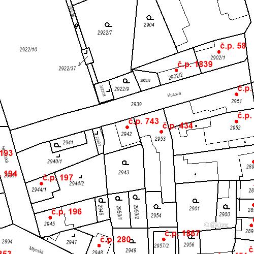 Katastrální mapa Stavební objekt Jirkov 743, Jirkov