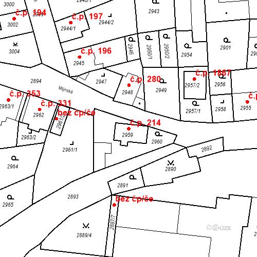 Katastrální mapa Stavební objekt Jirkov 214, Jirkov