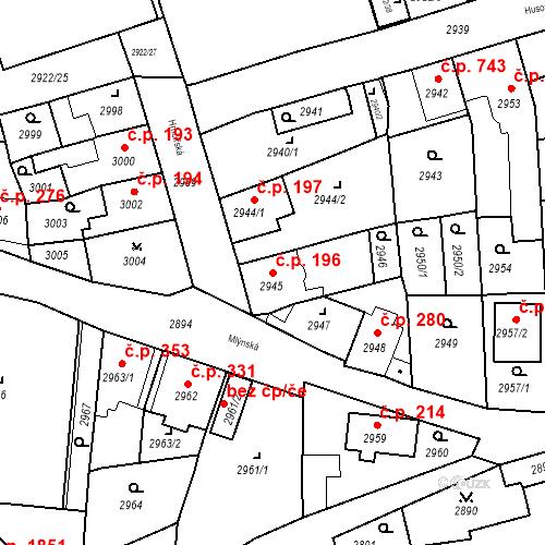 Katastrální mapa Stavební objekt Jirkov 196, Jirkov