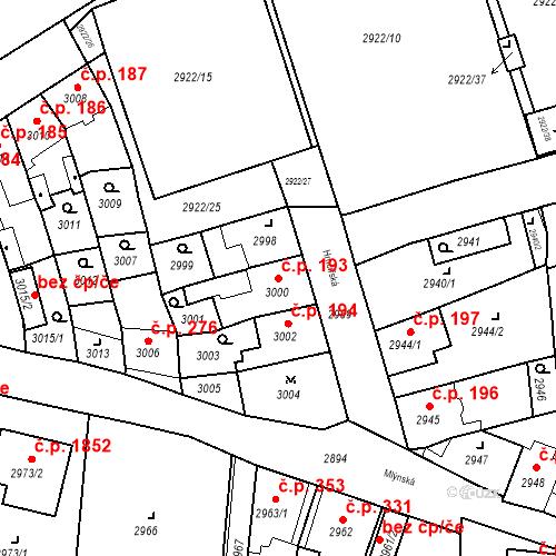 Katastrální mapa Stavební objekt Jirkov 193, Jirkov