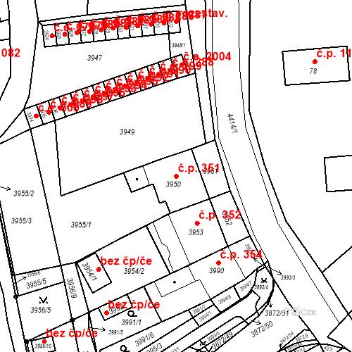 Katastrální mapa Stavební objekt Jirkov 351, Jirkov