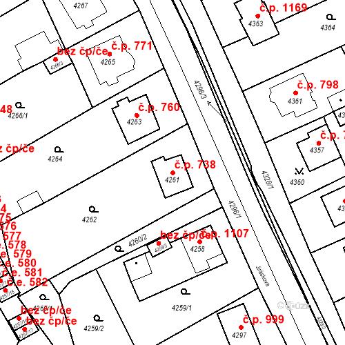 Katastrální mapa Stavební objekt Jirkov 738, Jirkov