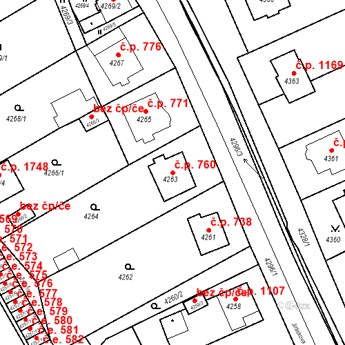 Katastrální mapa Stavební objekt Jirkov 760, Jirkov