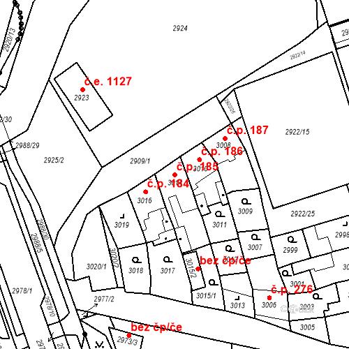 Katastrální mapa Stavební objekt Jirkov 185, Jirkov