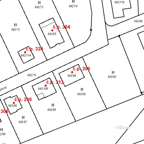 Katastrální mapa Stavební objekt Otvice 305, Otvice