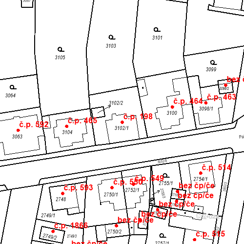 Katastrální mapa Stavební objekt Jirkov 198, Jirkov