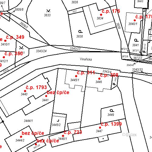 Katastrální mapa Stavební objekt Jirkov 311, Jirkov