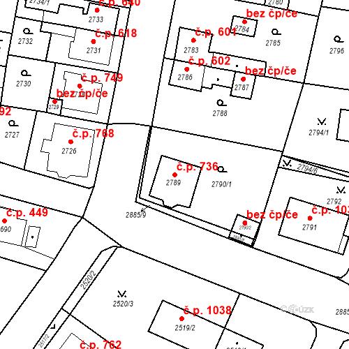 Katastrální mapa Stavební objekt Jirkov 736, Jirkov