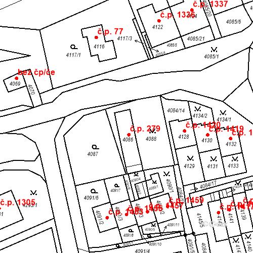 Katastrální mapa Stavební objekt Jirkov 279, Jirkov