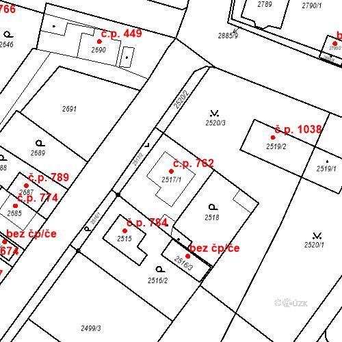 Katastrální mapa Stavební objekt Jirkov 762, Jirkov