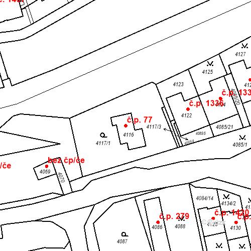 Katastrální mapa Stavební objekt Jirkov 77, Jirkov