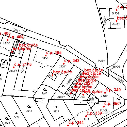 Katastrální mapa Stavební objekt Jirkov 348, Jirkov