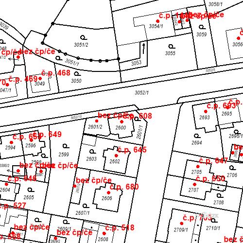 Katastrální mapa Stavební objekt Jirkov 608, Jirkov