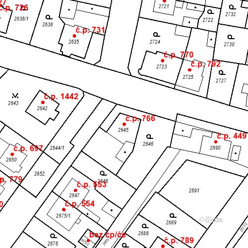 Katastrální mapa Stavební objekt Jirkov 766, Jirkov