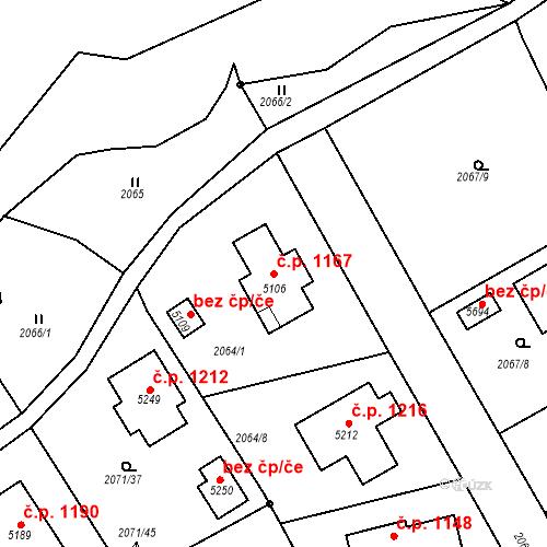 Katastrální mapa Stavební objekt Nové Město 1167, Rokycany