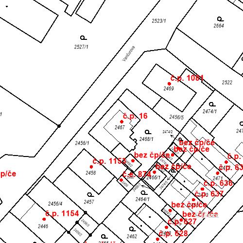Katastrální mapa Stavební objekt Jirkov 16, Jirkov
