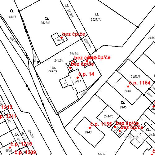 Katastrální mapa Stavební objekt Jirkov 14, Jirkov