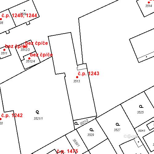 Katastrální mapa Stavební objekt Jirkov 1243, Jirkov